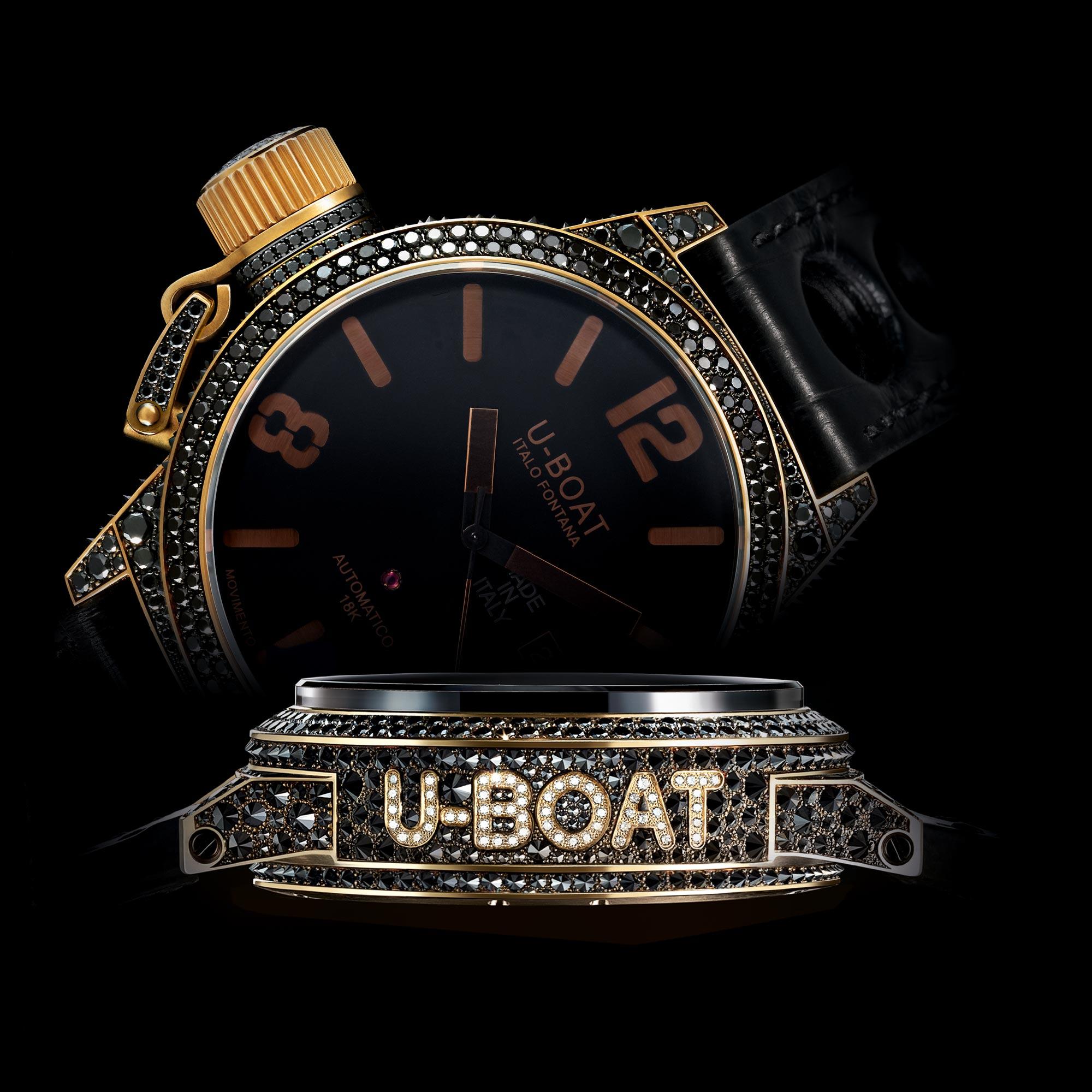 balck-dial-u-boat-precious-black-swan-8000-replica-watches